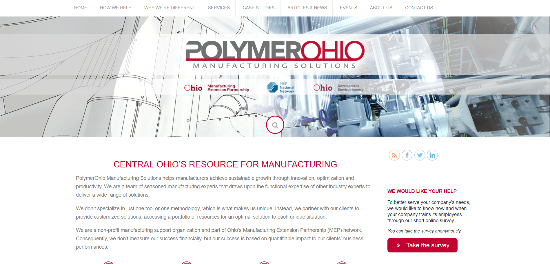 PolymerOhio Manufacturing Solutions website thumbnail